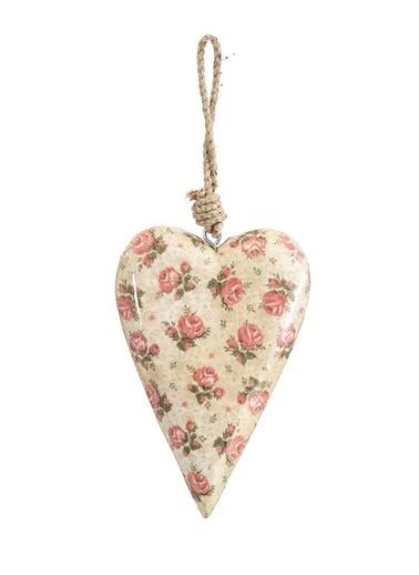 Vitale Çiçek Desenli Kalp Orta Boy Krem